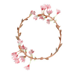 Spring composition, wreath, painted with watercolor, of delicate pink flowers, green leaves and branches, Sakura, cherry blossom, almond flowers isolated on a white background,