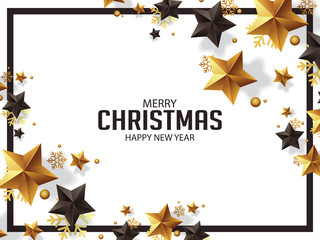 LUXURY CHRISTMAS GREETINGS DESIGN ILLUSTRATION WITH GOLD AND BLACK STARS