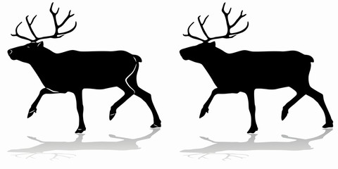 silhouette of a reindeer , vector drawing