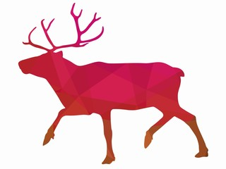 illustration of a reindeer , vector drawing