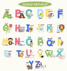 Cute Animal Alphabets for children set