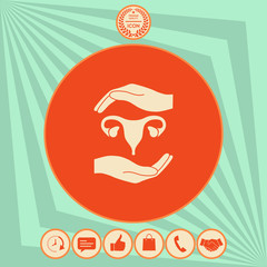 Hands holding Female uterus - protection symbol