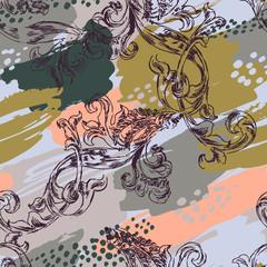 Modèle sans couture éclectique avec peinture en aérosol et ornement baroque.