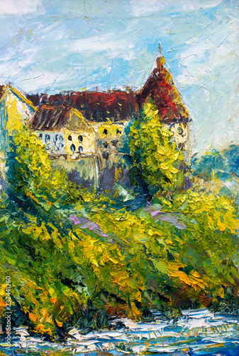 German castle Oil Painting - Old big castle with red roofs and