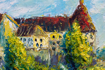 Old big castle with red roofs and towers on background of beautiful nature. Original oil painting, impressionism palette knife and brush landscape.