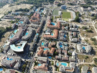 Bulgaria aerial photo of the beautiful hotel and city area of Sunny Beach near Nesebar
