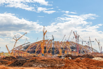 Zelfklevend Fotobehang Stadion SAMARA, RUSSIA - May 2017: Construction of a modern stadium for the soccer world cup Cosmos Arena.