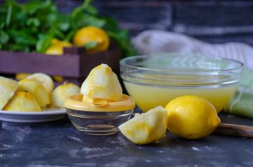 The process of making lemonade at home .Healthy life concepti