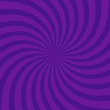 Swirling radial bright purple pattern background. Vector illustration for swirl design. Vortex starburst spiral twirl square. Helix rotation rays. Scalable stripes. Fun sun light beams.