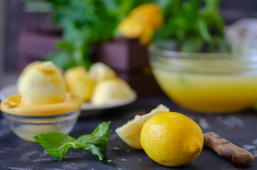 The process of making lemonade at home .Healthy life concept