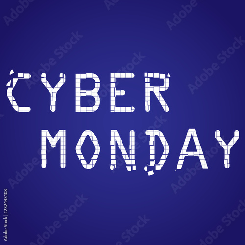 Cyber Monday sale website  Background with pixel art