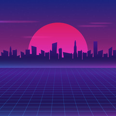Retro Future 80s Style Sci Fi Wallpaper Futuristic Night City Cityscape On A