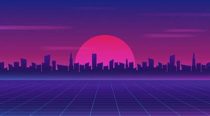 Foto op Aluminium Violet Retro future 80s style sci-fi wallpaper. Futuristic night city. Cityscape on a dark background with bright and glowing neon purple and blue lights. Cyberpunk and retro wave style vector illustration