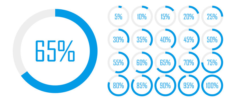 Set of circle percentage diagrams from 0 to 100 for web design, user UI interface or infographic - indicator with blue color. Vector illustration