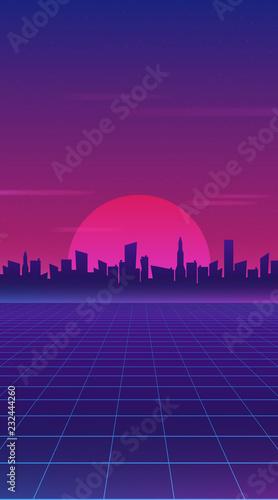 Retro future 80s style sci-fi wallpaper. Futuristic night city. Cityscape on a