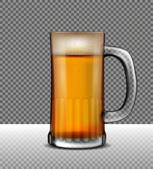 Vector illustration of beer cup on transparent background.