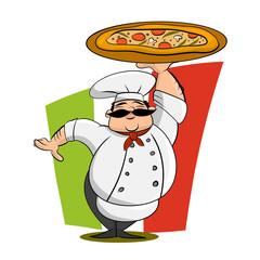 Funny Italian Chef With Pizza. Cartoon Vector Illustration.