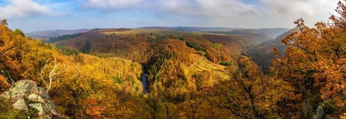 Panoramic view of beautiful autumnal landscape with river valley