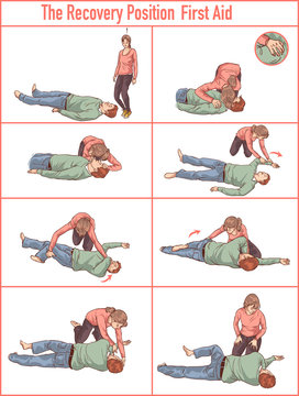 vector illlustration of a Recovery position (first aid)