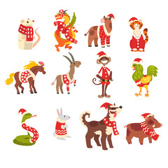 Symbols of New Year set, cute animals of Chinese horoscope in Santa Claus costumes vector Illustration on a white background