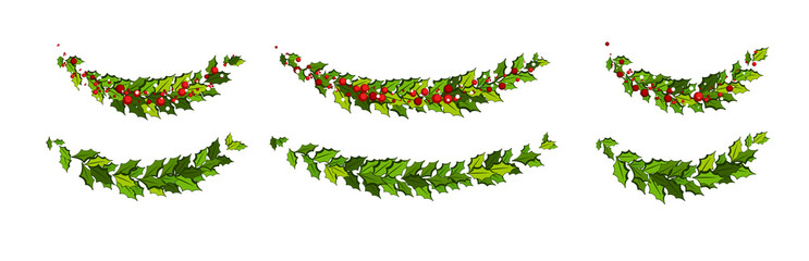 Christmas decorations with holly leaves and red berries. Horizontal arch garland