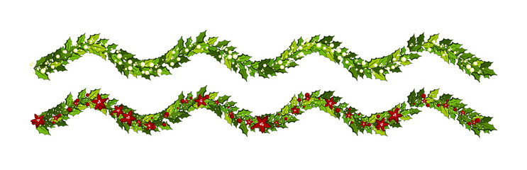 Christmas decorations with red poinsettia flowers and holly leaves and white berries. Horizontal wavy garland