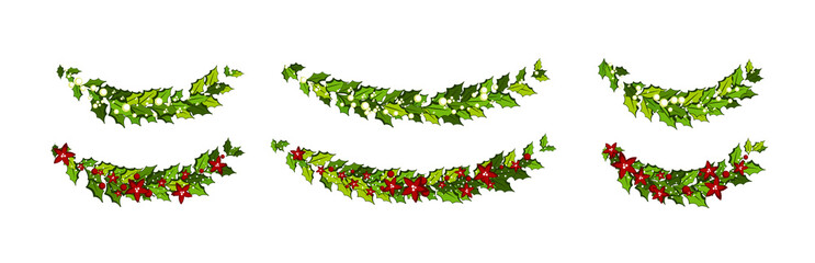 Christmas decorations with red poinsettia flowers and holly leaves and white berries. Horizontal arch garland