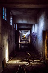 Empty corridor at abandoned military complex