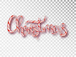 Christmas candy design vector template. Calligraphic Christmas Lettering Decorated. Christmas poster template. Vector illustration EPS10