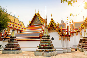 Temple of the Emerald Buddha at sunset, Thailand, Bangkok, Wat Phra Kaew. The royal grand palace