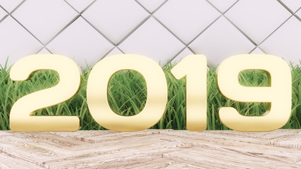 Happy New 2019 Year. Holiday 3d illustration gold numbers 2019. On a wooden background. green grass. Trendy cover