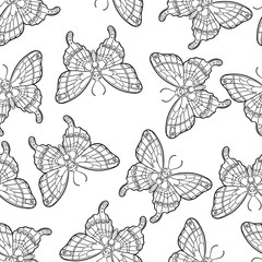 Seamless pattern with butterflies. Stylised moth in line art style. Black and white vector illustration.