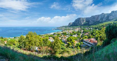 Wall Mural - View of the gulf of Mondello and Monte Pellegrino, Palermo, Sicily island, Italy