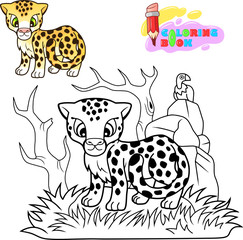 cartoon cute cheetah, funny illustration, coloring book