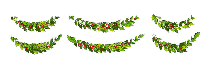 Christmas decorations with red and white poinsettia flowers and holly leaves and red berries with snow.  Horizontal arch garland