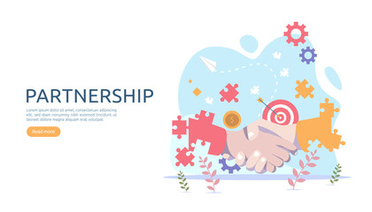 Business partnership relation concept with hand shake and tiny people character. team working together template for web landing page, banner, presentation, mockup, social media. Vector illustration.