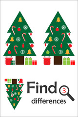 Find 3 differences, christmas game for children, xmas tree in cartoon style, education game for kids, preschool worksheet activity, task for the development of logical thinking, vector illustration