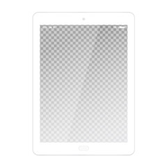 Realistic illustration of white tablet with transparent touch screen with battery, wifi and cellular network symbols, with glare, isolated on white background