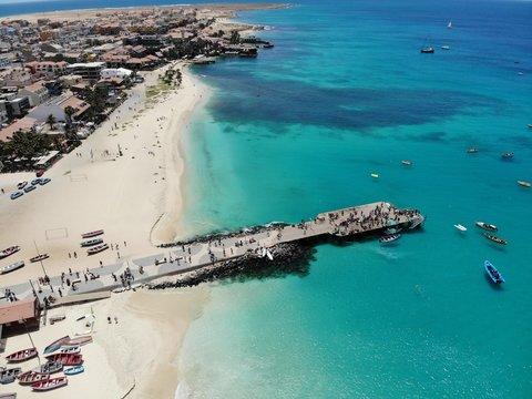 The pier at Cape Verde aerial view at Santa Maria beach in Sal Island Cape Verde - Cabo Verde