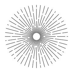 Burst lines shape of sun. Retro vintage hipster style vector