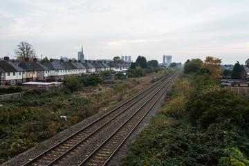 Railway line running through English town