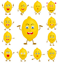 Character cartoon lemon. A set of heroes with different facial expressions and gestures. Collection of cute vector avatars.