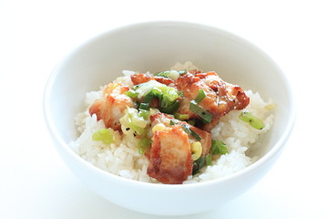 Asian  food, scallion and chicken stir fried on rice