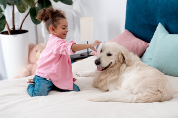 curly african american child sitting on the bed and shows smartphone screen to retriever