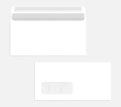 White left hand window self seal envelope with security pattern mockup
