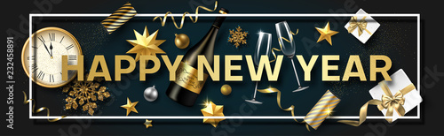 happy new year banner with christmas decorations gifts champagne and clock