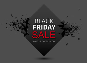 Black friday sale grey background. Up to 50 percent off.