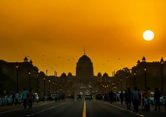 Wall Mural - Sunset behind the Presidential Residence, Rashtrapati Bhavan, New Delhi. India.