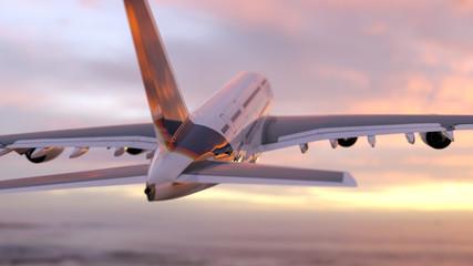 Wall Mural - air plane flies into the dawn sky