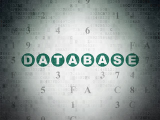 Database concept: Painted green text Database on Digital Data Paper background with Hexadecimal Code